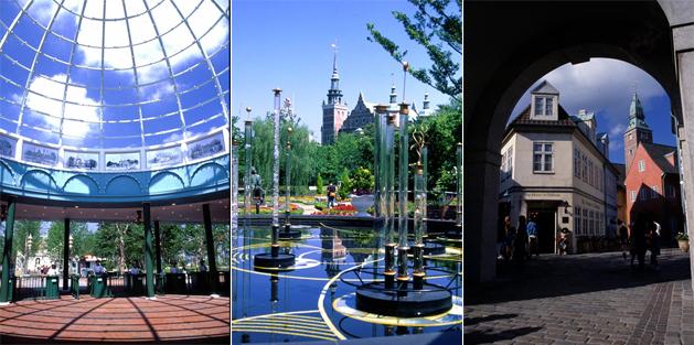 Tre bilder från Kurashiki Tivoli Park i Japan